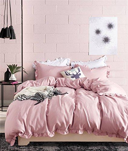 Omelas Blush Pink Ruffled Duvet Cover Set Full/Queen Size Vintage Ruffle Fringe Comforter Cover Solid Color Farmhouse Rustic Bedding Soft Microfiber,Zipper Closure,2 Sham (Mauve Pink, Queen) (Set Comforter Full Ruffle)