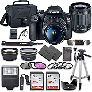 51C1ZLCf7tL. SS300  - Canon EOS Rebel T7 DSLR Camera Bundle with Canon EF-S 18-55mm f/3.5-5.6 is II Lens + 2pc SanDisk 32GB Memory Cards…