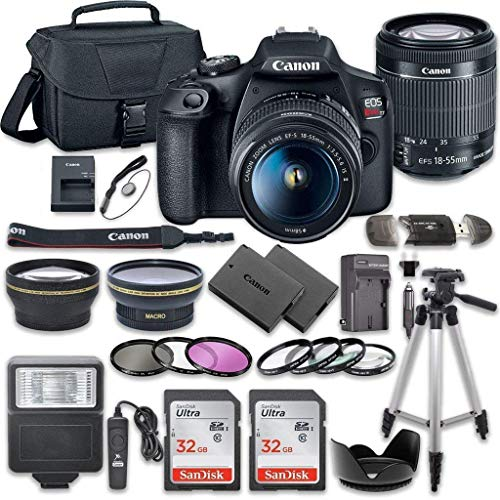 Canon EOS Rebel T7 DSLR Camera Bundle with Canon EF-S 18-55mm f/3.5-5.6 is II Lens + 2pc SanDisk 32GB Memory Cards + Accessory - High Fixed Mount Speed