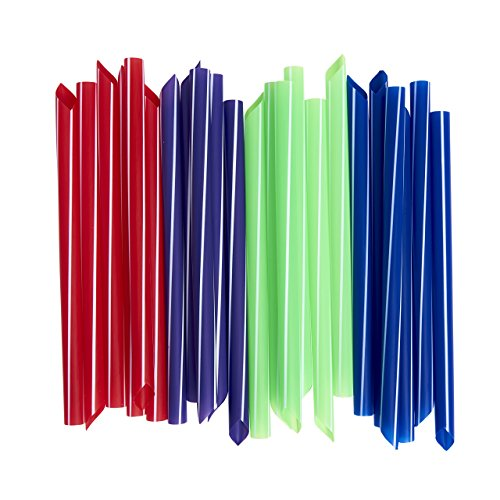 Extra-Wide Drinking Straws (100-Count) Boba Bubble Tea, Smoothies, Milkshakes and Healthy Drinks | Colored, Disposable, Recyclable | Kid-Friendly, Assorted Colors | Individually (Wide Straws)