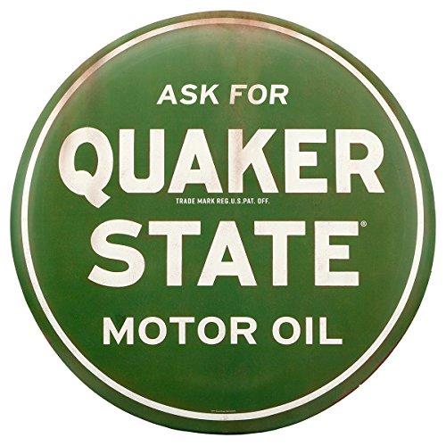 (Open Road Brands- Quaker State Motor Oil Round Retro Vintage Metal TIn Sign)