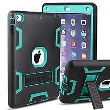 iPad Air Case, MAKEIT 3in1 Defender Hybrid Shockproof Kickstand Case for iPad Air 2013 Model (C3-Black/Green)