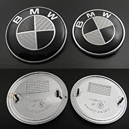 Set of 2 BMW HOOD & TRUNK BMW Real Carbon Fiber Emblems
