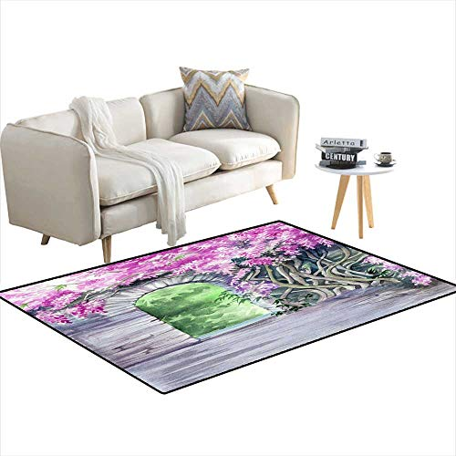Kids Carpet Playmat Rug Blossoming Wisteria Garden Over The Wall wi a gate 48