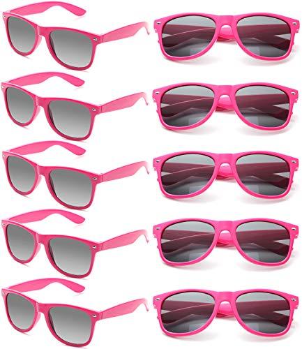 Wholesale Unisex 80'S Retro Neon Party Favor Sunglasses Bulk for Adults 10 Pack (Hot Pink) -