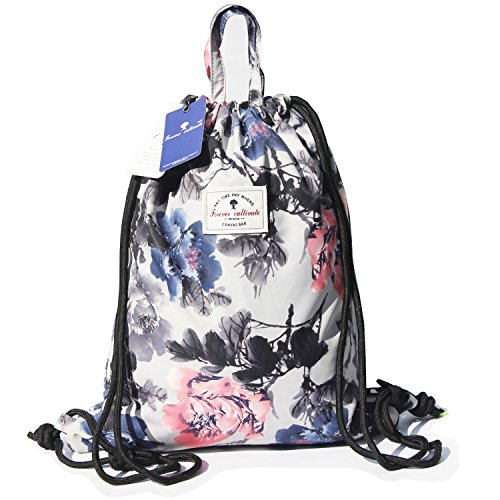 Drawstring Backpack Original Floral Leaf Lightweight Waterproof Tote Bags Sackpack for Shopping Yoga Gym Hiking Swimming Travel Beach ([F] Flower Leaf) (Rope Drawstring Closure)