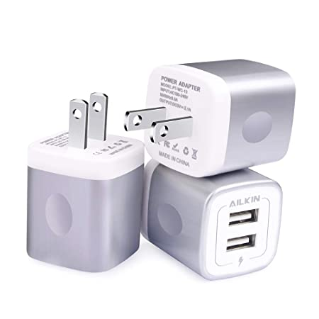 USB Charging Box, Charger Adapter, Ailkin 3-Pack 2.1Amp Dual Port Fast Charge Plug Cube Base Replacement for iPhone X/8/7/6S/6S Plus/6, Samsung Galaxy ...