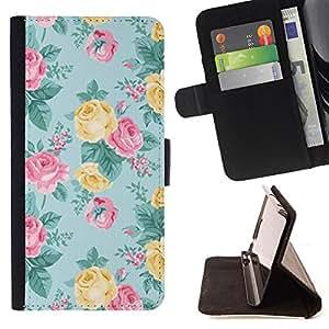 - Queen Pattern FOR HTC DESIRE 816 /La identificaci????n del cr????dito ranuras para tarjetas tir????n de la caja Cartera de cuero cubie - rose teal pink yellow floral pattern -