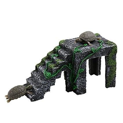 eDealMax Gris Oscuro acuario Verde paisaje Resina Basking Rampa Tortuga Suba Piedra Hábitat ornamento