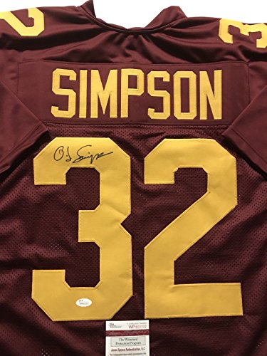 (Autographed/Signed OJ O.J. Simpson USC Maroon College Football Jersey JSA COA)