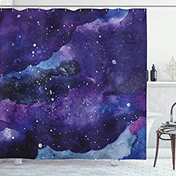 Ambesonne Outer Space Shower Curtain, Starry Night Sky Paint Strokes Galaxy Cosmic Universe Theme, Fabric Bathroom Decor Set with Hooks, 75 inches Long, Navy Blue Light Blue Purple