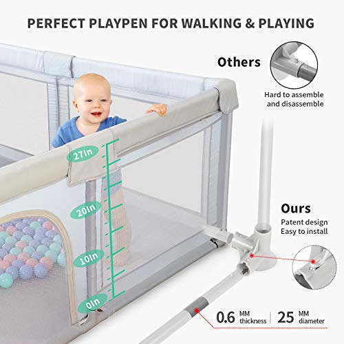 51C1b2eJ0UL - ANGELBLISS Baby Playpen, Playpens For Babies, Kids Safety Play Center Yard Portable Playard Play Pen With Gate For Infants And Babies,Extra Large Playard, Indoor And Outdoor, Anti-Fall Playpen(Gray)