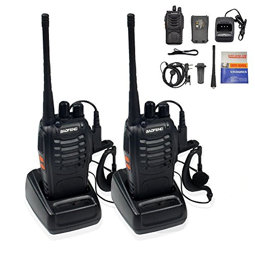 Ammiy BaoFeng BF-888S Rechargeable Long Range 5W Walkie Talkies 16 Channels two way radios (2 pack of radios) (Radio Rechargeable)