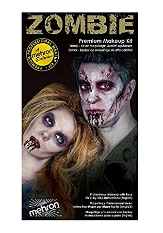 Special Effects Premium Zombie Apocalypse Makeup Kit By Mehron - Halloween SFX Make Up - Bruise Ring, Blood Gel, Flesh Liquid Latex & Color Cup, Decayed Teeth, Brush, Foam Wedge, Wipes & (Cheap Special Effects Makeup)