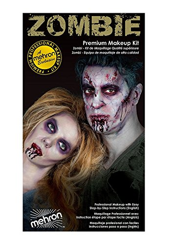 Special Effects Premium Zombie Apocalypse Makeup Kit By Mehron - Halloween SFX Make Up - Bruise Ring, Blood Gel, Flesh Liquid Latex & Color Cup, Decayed Teeth, Brush, Foam Wedge, Wipes & Instructions -