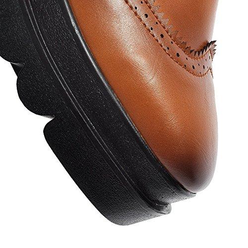 Allhqfashion Femmes Pu Chaton Talons Carré Fermé Orteil Solide Lace Up Pompes-chaussures Marron