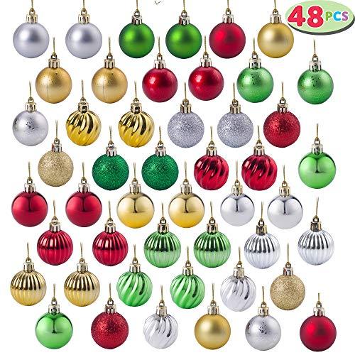 JOYIN 48ct 40mm Luxury Shatterproof Multi-Color Christmas Ball Ornaments Set for Christmas Holiday Tree Decorations
