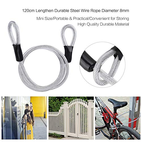 Cable Lock Security Metal Access Key Door Gate Cycling Tie Latch Steel Wirerope