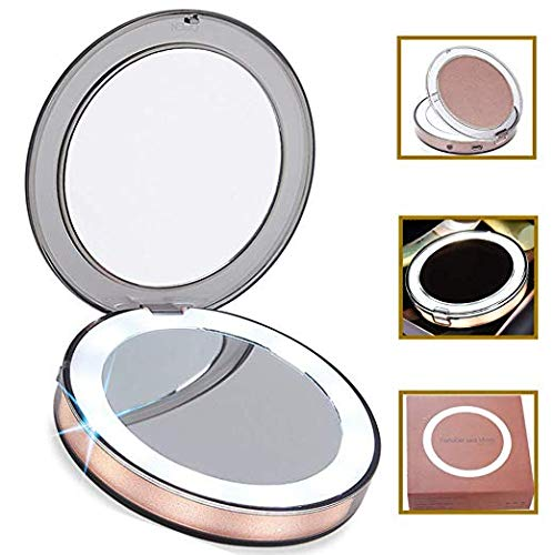 SUNFICON LED Compact Mirror Travel Makeup Mirror Small Portable Handheld 1X/3X Magnifying Cosmetic Mirror Rechargeable Lighted Round Foldable Design Gift Package for Girls,Ladies,Girlfriend,Wife,Rose