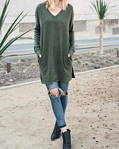 Jumpers Tunique Casual Tops Shirt Col Long Longues Mini Robes T Automne Femmes Clair Hauts Vert Tee Pullover Pulls Shirts Jeune Printemps Manches V Sweat Chandail Mode aH7ZWTqW