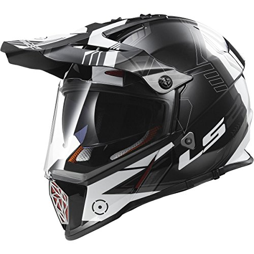 (LS2 Helmets Pioneer Trigger Adventure Off Road Motorcycle Helmet with Sunshield (White, X-Large))