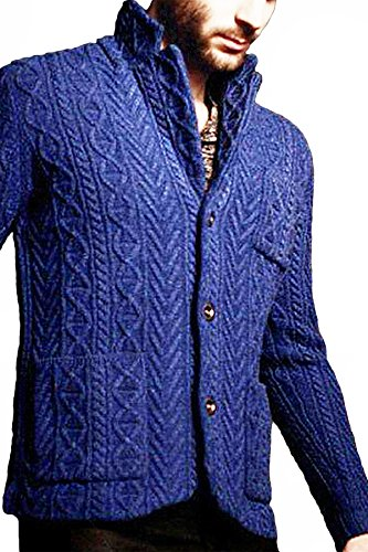 REVOLUTION NOW Men's Knitted Chain Link and Cable Lambswool Jacket Sweater Azure Blue