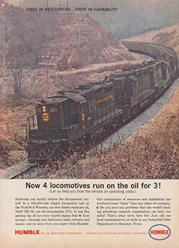 Now 4 Norfolk & Western diesel locomotives tun on oil for 3! Humble ad 1962