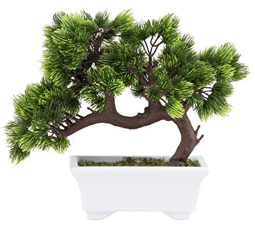 (Artificial Bonsai Tree - Fake Plant Decoration, Potted Artificial House Plants, Japanese Pine Bonsai Plant, for Decoration, Desktop Display, Zen Garden Décor - 10.3 x 5 x 9.4 Inches)