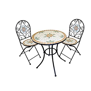 Alpine Corporation 3-Piece Mosaic Bistro Set - Outdoor Conversation Set for Patio, Yard, Garden - Tan