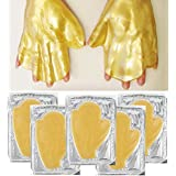 Anti Aging Treatments Set / Kit of 5 Pairs Hands Newborn 24 K Gold / Golden Collagen Gel Crystal Masks for Intense Hydration / Moisturizing, Firming / Lifting, Skin Elasticity, Smoothing and Wrinkles Removal