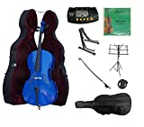 Merano 3/4 Size Dark Blue Cello with Hard Case, Bag and Bow+2 Sets of Strings+Cello Stand+Black Music Stand+Metro Tuner+Mute+Rosin