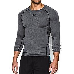 Under Armour Men\'s HeatGear Armour Long Sleeve Compression Shirt, Carbon Heather/Black, Large