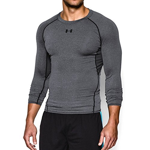 Under Armour Men's HeatGear Armour Long Sleeve Compression Shirt, Carbon Heather/Black, Large by Under Armour
