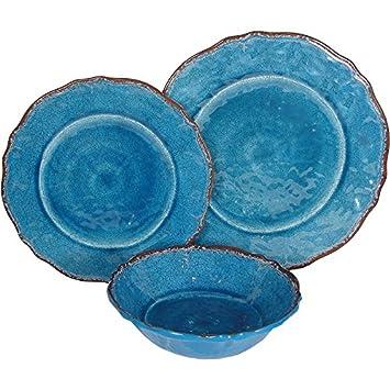 8 X Le Cadeaux Antiqua Blue - 3 Piece Place Setting 24 Piece Set  sc 1 st  Amazon.com & Amazon.com | 8 X Le Cadeaux Antiqua Blue - 3 Piece Place Setting 24 ...