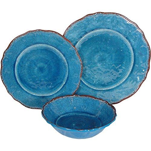 8 X Le Cadeaux Antiqua Blue - 3 Piece Place Setting, 24 Piece Set by Le Cadeaux
