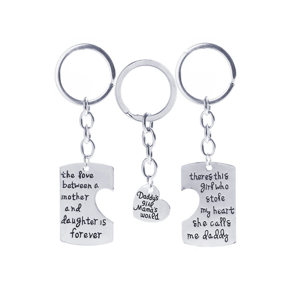 OULII 3pcs Daddy Girl Mom Mama World Charm Pendant Key Chain for Family Gift Christmas Birthday Gift 29R62325FSZ