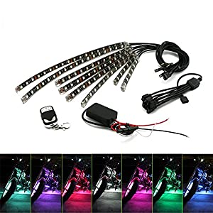 Motorcycle Underglow Kit ZXREEK 8 pcs ATV Led Lights RGB Waterproof Flexible LED Strips Multi-Color Accent Glow Neon Atmosphere Lights Lamp with RF Wireless Remote Controller 12V
