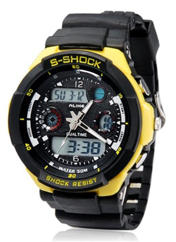 Sport Watches Round Dial AL35 Movement 50 m Waterproof Analog & Digital Sports Diving Watch with TPU Rubber Strap - Yellow Color ()