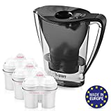 BWT Premium Water Filter Pitcher with 3 (60 Day) Filters Included, Award Winning Austrian Quality, Technology For Superior Filtration & Taste (Black)
