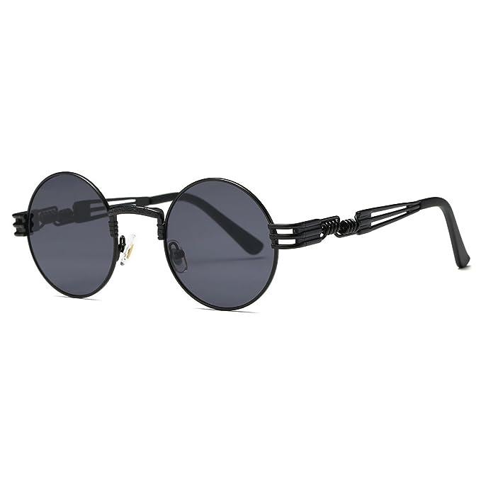 3a76b4b9ccd AEVOGUE Sunglasses Steampunk Style Round Metal Frame Unisex Glasses AE0539  (Black