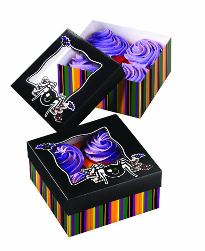 Wilton 415-0454 Halloween Spider 4-Cavity Cupcake Box with