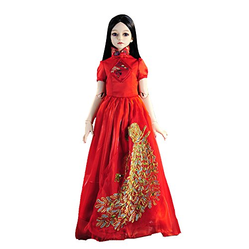 [Banne Park Rids Simulatio Red Beauty High-Set Cheongsam Dress New Bitty Princess Baby Doll's Clothes Fit 1/3 24 inch BJD] (Princess Peach Costumes Women)
