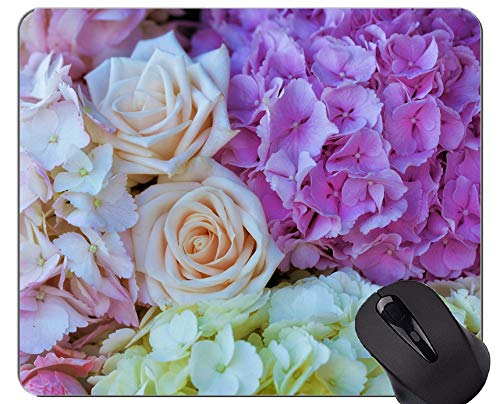 (Mouse Pad Non-Skid Natural Rubber Rectangle Mouse Pads,Earth Rose Hydrangea Flower -Stitched)