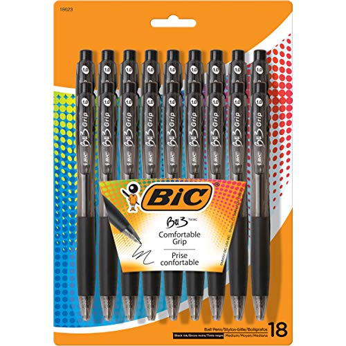 BIC BU3 Grip Retractable Ballpoint Pen, Medium Point (1.0mm), Black, 18-Count ()