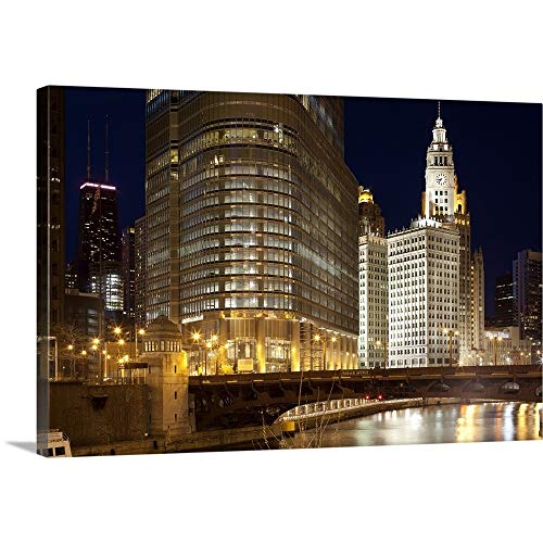 GREATBIGCANVAS Gallery-Wrapped Canvas Entitled Trump Tower and Chicago River, Chicago, Illinois, USA by 18