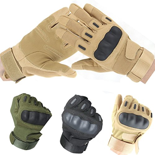 TooBike Military Gear Tactical Gloves Mountain Bike Gloves Road Racing Bicycle Gloves Tactical Airsoft Hunting Riding Cycling Gloves Men/Women Work Gloves,Tan Fullfinger,L
