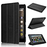 Fire HD 8 Case 7th generation 2017 Release, Swees Slim Folio Protective Leather Smart Case Cover with Stand for All New Amazon Fire HD 8 Tablet with alexa 7th gen 2017 Kids Friendly, Vintage Black