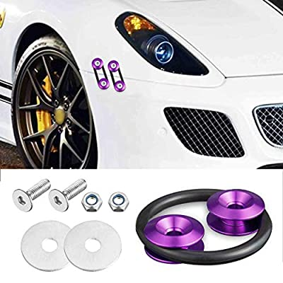 Enmoo 8 Pcs Car Front Rear Bumper Quick Release Fasteners Washers Universal Aluminum Fasteners Washers Bolts Kit for Car Bumpers Trunk Fender Hatch Lids (Purple): Automotive