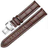 12-17mm Genuine Leather Ladies Womens Silver Buckle Wrist Watch Bands Strap Replacement (16mm, Brown & White Line)
