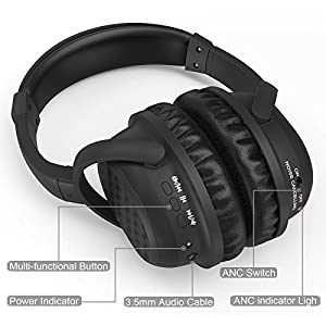 Yakalla Active Noise Cancelling Headphones, Wireless Over-ear Stereo Earphones with Microphone and Volume Control (BLACK)
